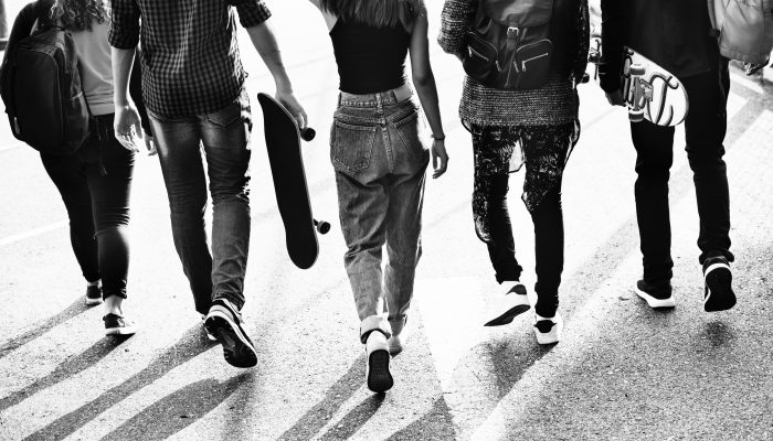 Group of Students Walking Black and White